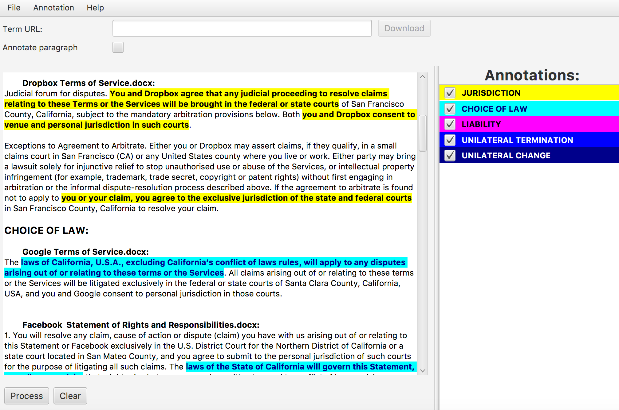 Annotated paragraphs